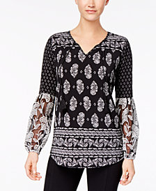 Style & Co Petite Printed Embroidered Top, Created for Macy's