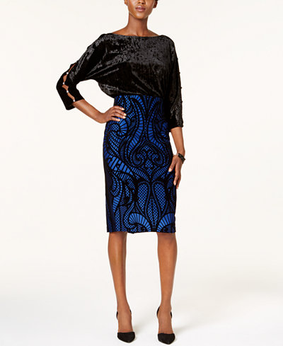 Cable & Gauge Cutout-Sleeve Top & ECI Flocked Skirt