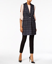 NY Collection Plaid Topper Vest, Split-Sleeve Sweater & ECI Straight-Leg Pants