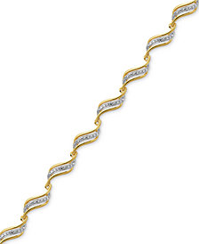 Diamond Accent Wavy Link Bracelet in Gold over Fine Silver-Plate