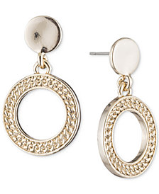 DKNY Textured Drop Hoop Earrings, Created for Macy's
