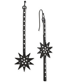 RACHEL Rachel Roy Black-Tone Pavé Starburst Mismatch Linear Drop Earrings
