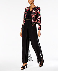 Thalia Sodi Printed Moto Jacket & Chiffon-Overlay Jumpsuit, Created for Macy's