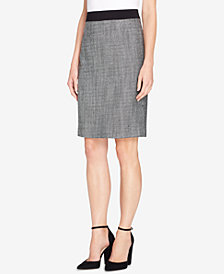Tahari ASL Ponté-Knit-Trim Pencil Skirt