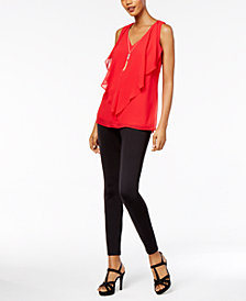 Thalia Sodi Ruffled Necklace Top & Zip-Detail Skinny Pants, Created for Macy's