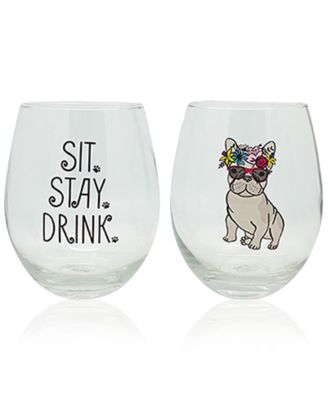 Wine Glass-Sit Stay Drink Stemless Wine Glass