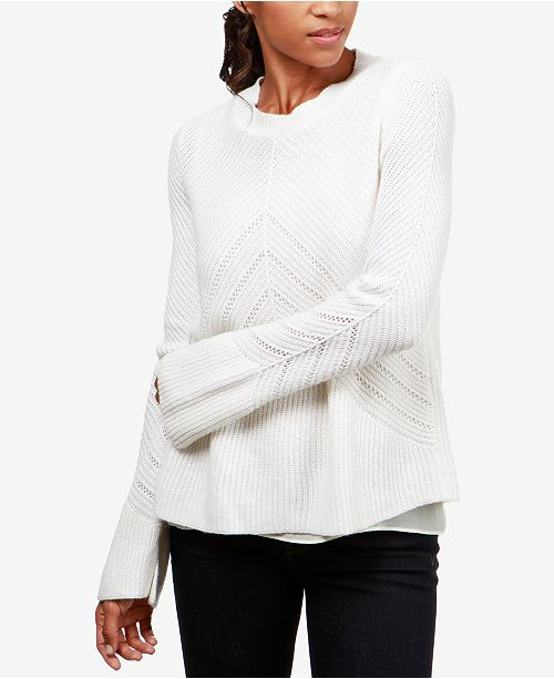 5dc9f790bc9c7 Lucky Brand Nico Chiffon-Hem Sweater   Reviews - Sweaters - Women ...