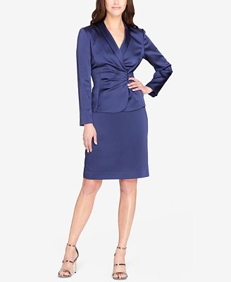Tahari Asl Satin Shawl Collar Skirt Suit Wear To Work Women Macy S