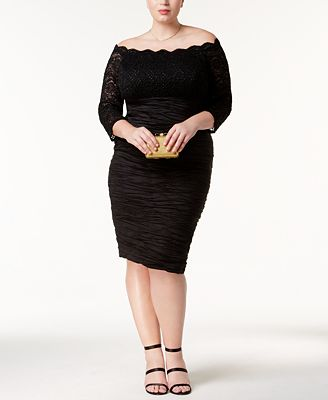 Alex Evenings Plus Size Off-The-Shoulder Dress
