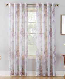 "Andorra 51"" x 63"" Crushed Sheer Watercolor Floral Curtain Panel"