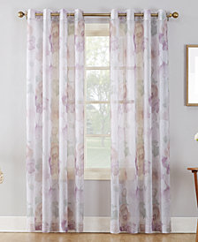 "Lichtenberg No. 918 Andorra 51"" x 95"" Crushed Voile Floral Watercolor Grommet Curtain Panel"