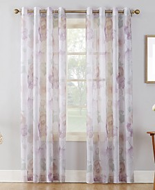 Lichtenberg No. 918 Andorra Crushed Voile Floral Watercolor Grommet Curtain Panels
