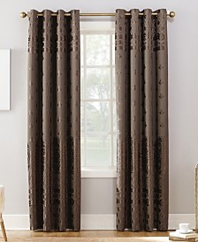 Sun Zero Elidah Textured Velvet Medallion Energy-Efficient Blackout Grommet Curtain Panels