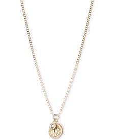 DKNY Three Charm Logo Pendant Necklace, Created for Macy's