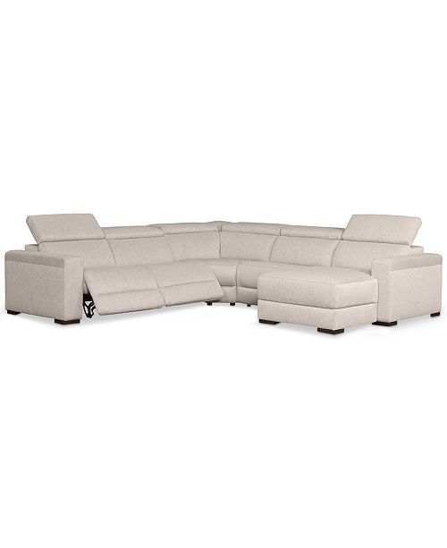 Magnificent Nevio 5 Pc Fabric Sectional Sofa With Chaise 2 Power Recliners And Articulating Headrests Created For Macys Squirreltailoven Fun Painted Chair Ideas Images Squirreltailovenorg