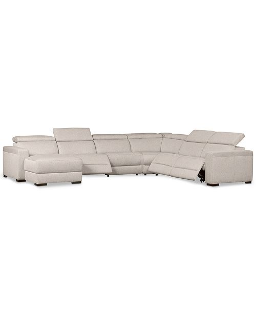 Furniture Nevio 6-Pc. Fabric Sectional Sofa with Chaise, 3 Power Recliners and Articulating Headrests, Created for Macy's