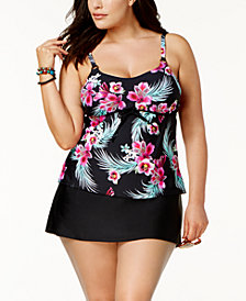 Island Escape Plus Orchid Paradise Underwire Tankini Top & Tummy-Control Swim Skirt, Created for Macy's