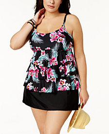 Island Escape Plus Size Orchid Printed Tiered Underwire Tankini Top & Swim Skirt