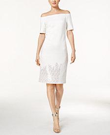 Calvin Klein Off-The-Shoulder Studded Sheath Dress