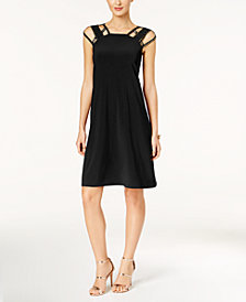 Love Scarlett Petite Studded Cutout Fit & Flare Dress, Created for Macy's