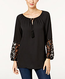 Love Scarlett Petite Lace-Sleeve Peasant Top, Created for Macy's