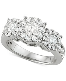 Diamond Triple Halo Cluster Ring (2 ct. t.w.) in 14k White Gold