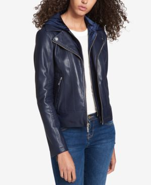 LAYERED-LOOK FAUX-LEATHER JACKET, CREATED FOR MACY'S