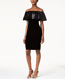 Adrianna Papell Velvet Off-The-Shoulder Dress