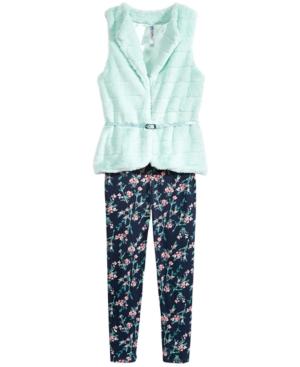 Beautees 2Pc FauxFur Vest  Leggings Set Big Girls (716)