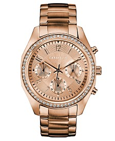 Caravelle Designed by Bulova  Women's Chronograph Rose Gold-Tone Stainless Steel Bracelet Watch 36mm