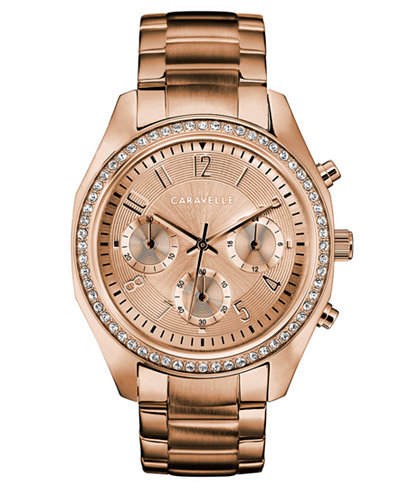 Caravelle Women's Chronograph Rose Gold-Tone Stainless Steel Bracelet Watch 36mm