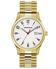 Caravelle Men's Gold-Tone Stainless Steel Bracelet Watch 40mm