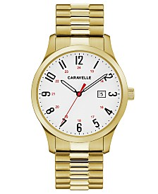 Caravelle Designed by Bulova  Men's Gold-Tone Stainless Steel Bracelet Watch 40mm