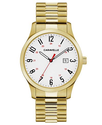Caravelle Men's Gold-Tone Stainless Steel Bracelet Watch 40mm