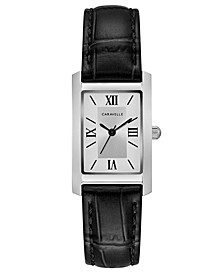 Women's Black Leather Strap Watch 21x33mm