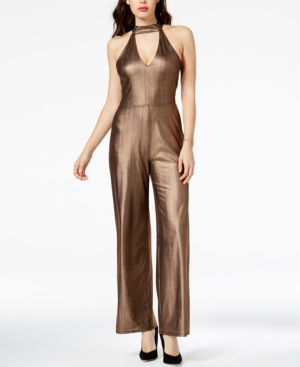 Vintage High Waisted Trousers, Sailor Pants, Jeans Guess Vida Metallic Choker Jumpsuit $42.73 AT vintagedancer.com