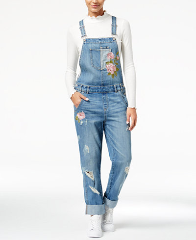 American Rag Juniors' Ripped Embroidered Denim Overalls, Created for Macy's
