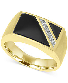 Men's Onyx & Diamond Accent Ring in 10k Gold