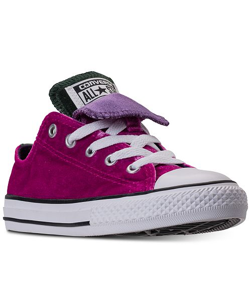 d7624c6a0794 ... Converse Little Girls  Chuck Taylor All Star Velvet Double Tongue  Casual Sneakers from Finish ...