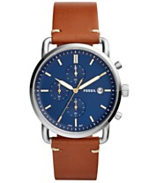 7c474d7b2071 Fossil Men s Chronograph Commuter Light Brown Leather Strap Watch 42mm