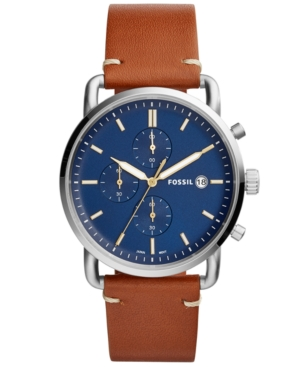 Fossil  MEN'S CHRONOGRAPH COMMUTER LIGHT BROWN LEATHER STRAP WATCH 42MM