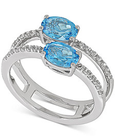Swiss Blue Topaz (1-3/4 ct. t.w.) & White Topaz (1/3 ct. t.w.) Ring in Sterling Silver