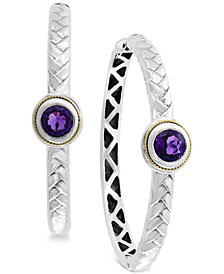 Final Call by EFFY® Amethyst Hoop Earrings (1-9/10 ct. t.w.) in Sterling Silver & 18k Gold