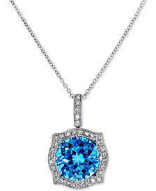 Final Call by EFFY® Blue Topaz (4-3/8 ct. t.w.) & Diamond (1/8 ct. t.w.) Pendant Necklace in 14k White Gold