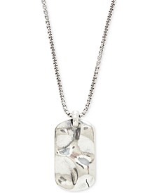 Men's Hammered Dog Tag Pendant Necklace in Sterling Silver