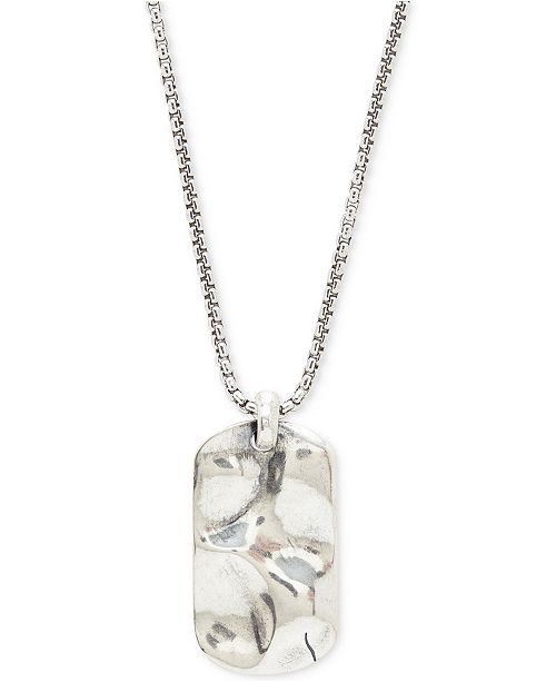 DEGS & SAL Men's Hammered Dog Tag Pendant Necklace in Sterling Silver