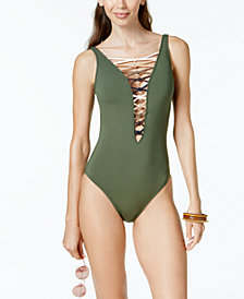 Bleu by Rod Beattie Lace-Up Plunging One-Piece Swimsuit