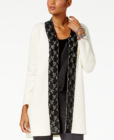 Alfani Lace-Trim Cardigan, Created for Macy's
