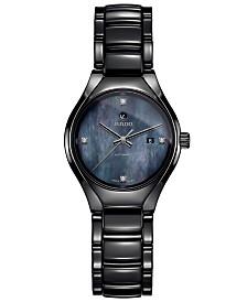 Rado Women's Swiss Automatic True Diamond-Accent Black High-Tech Ceramic Bracelet Watch 30mm