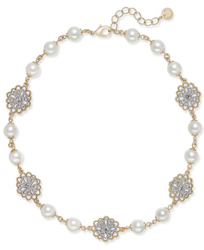 Charter Club Two-Tone Crystal Filigree & Imitation Pearl Collar Necklace, Created for Macy's